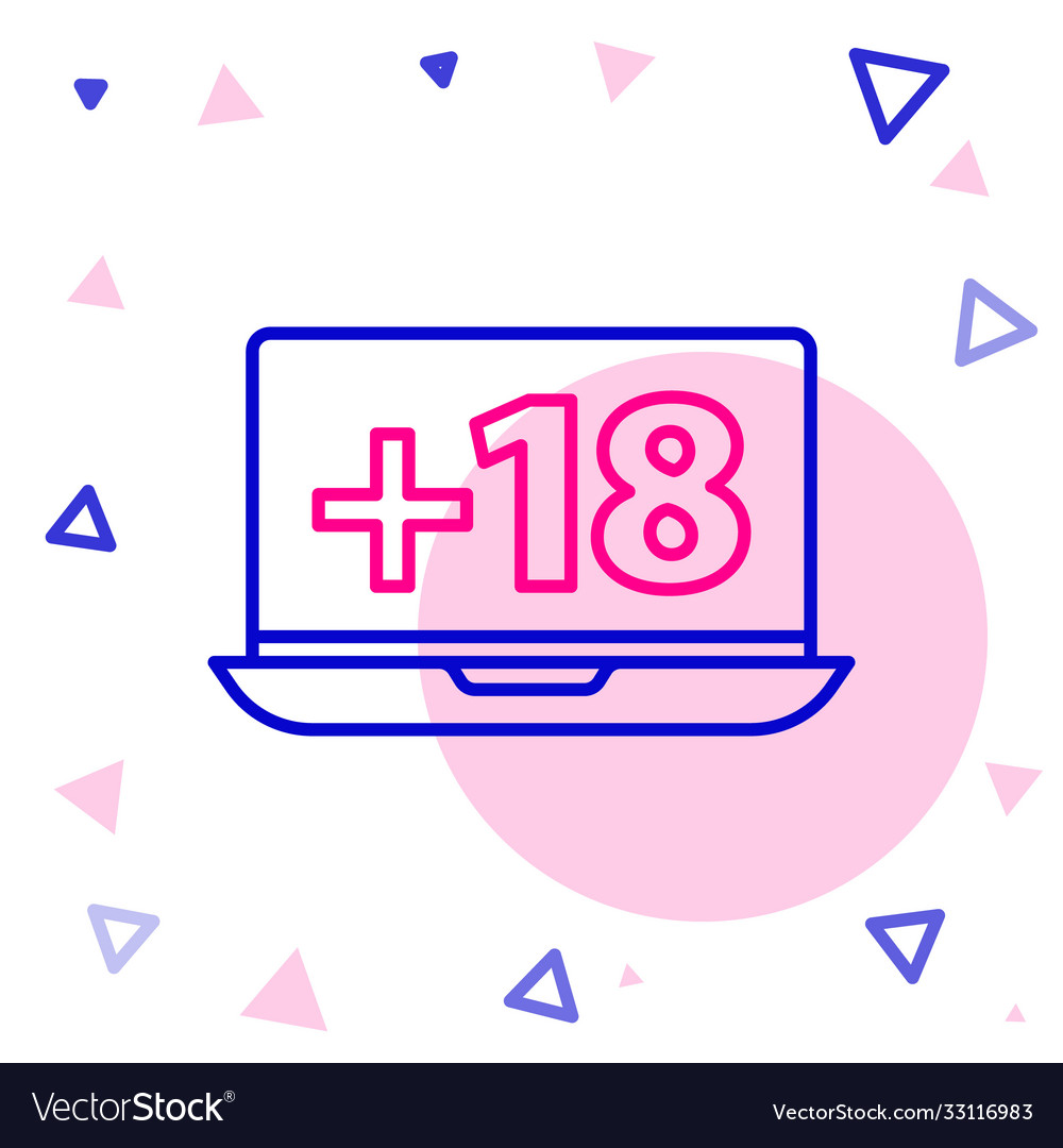 Line laptop with 18 plus content icon isolated on