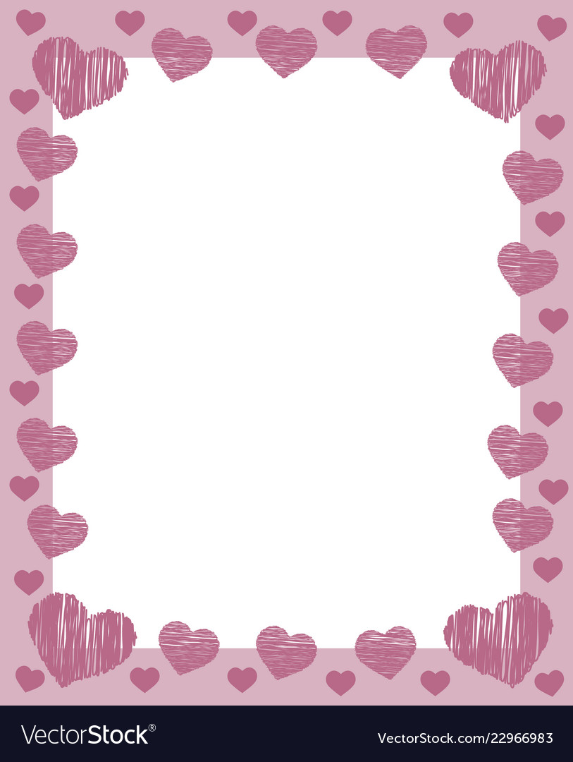 Pink valentines frame border with many pink