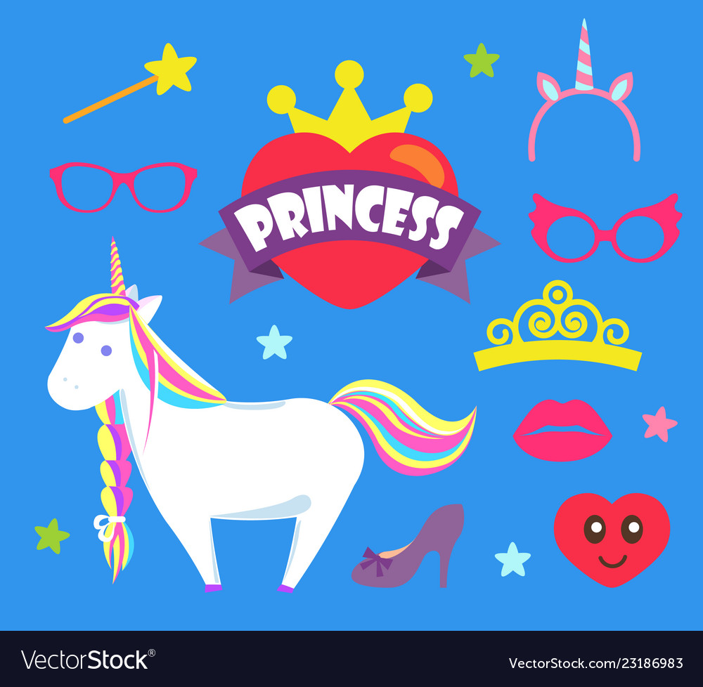Princess party unicorn and crown icons set