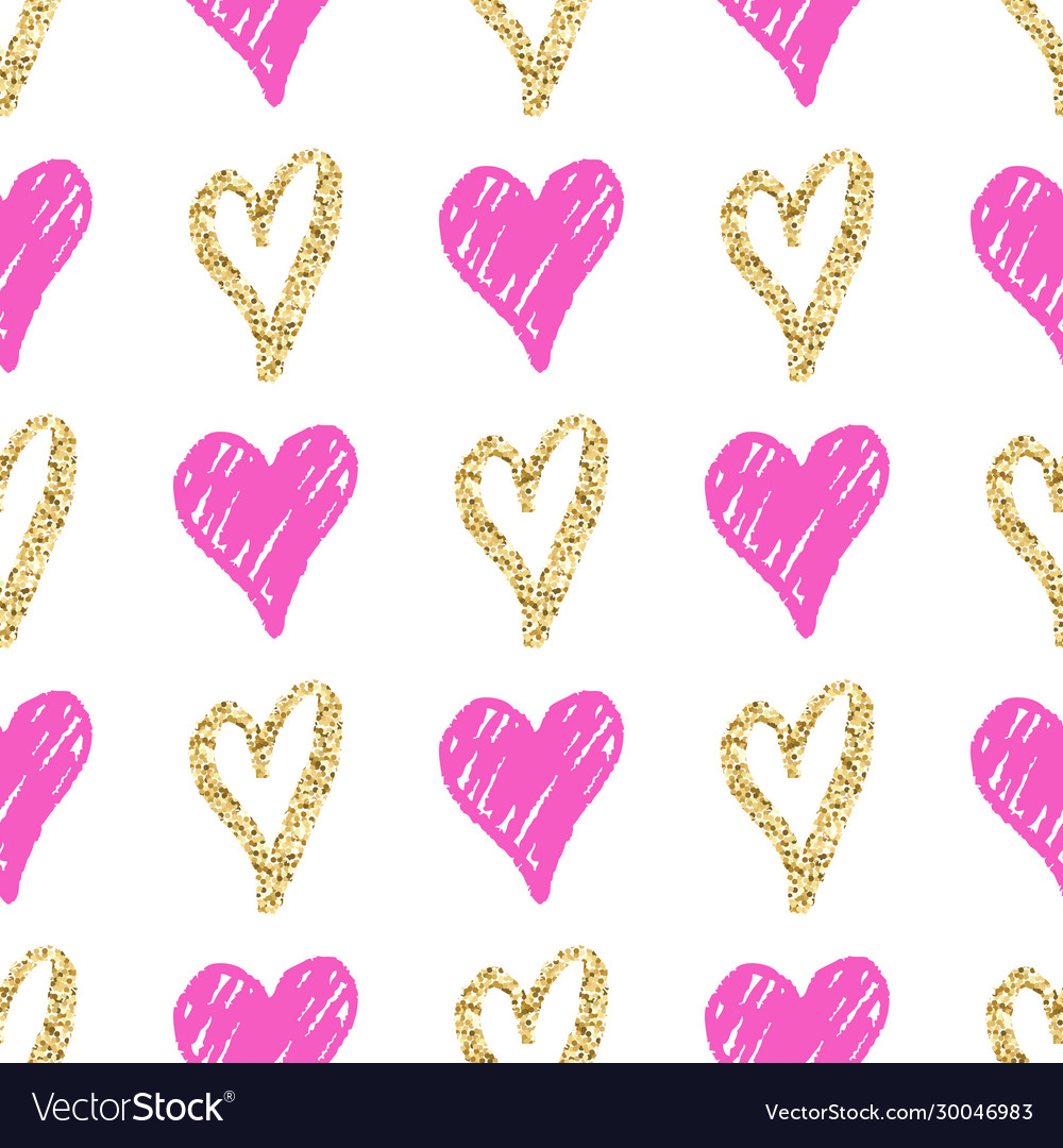 Seamless pattern with hand drawn golden and pink
