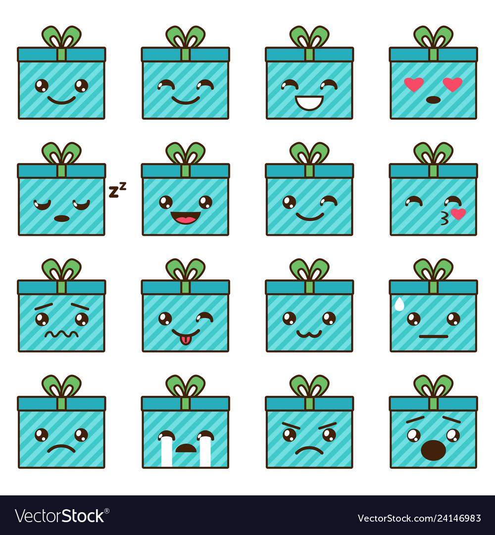 Set of cute kawaii emoji