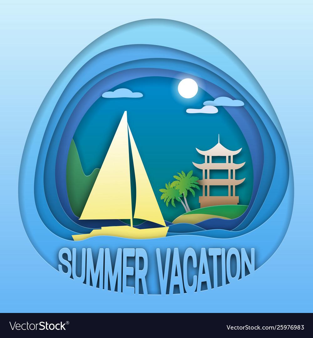Summer vacation logo template sailing yacht at