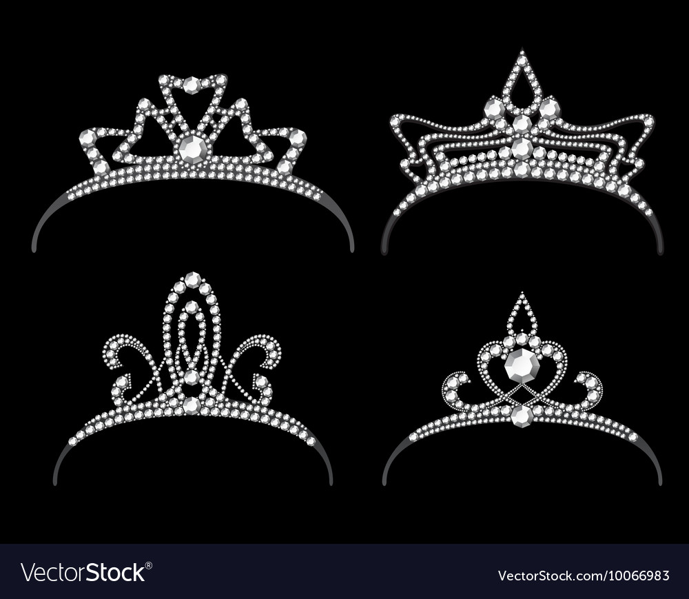 Tiaras and crowns with diamond set vector image