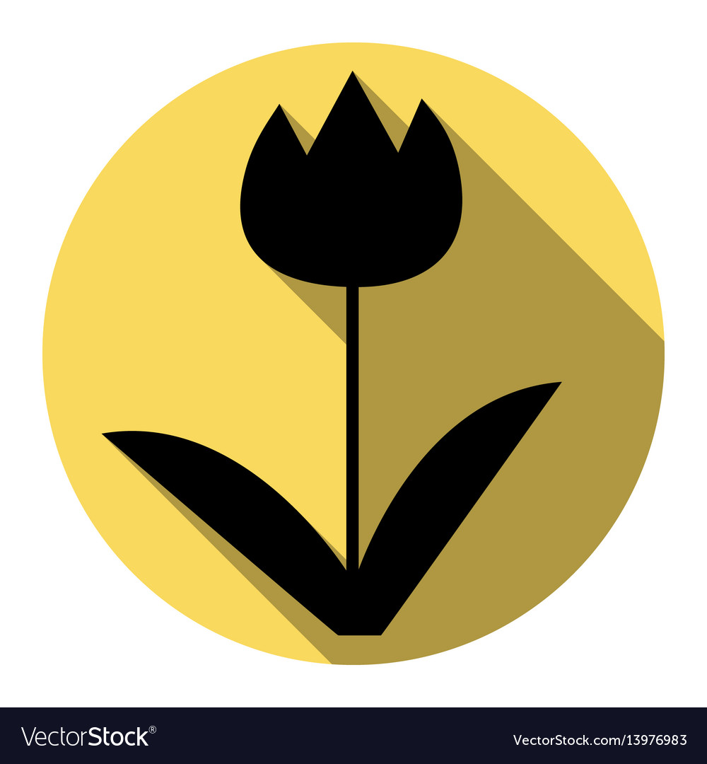 Tulip sign flat black icon with flat
