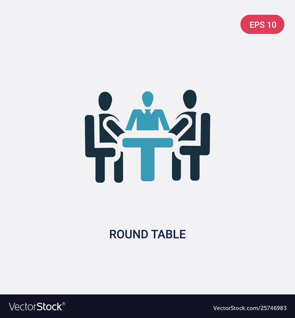 Two color round table icon from people concept
