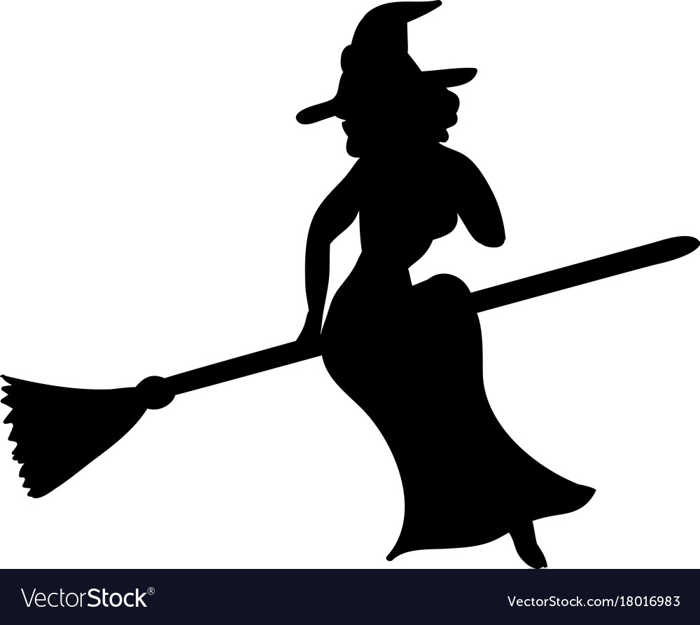 witch magical silhouette fantasy broom royalty free vector