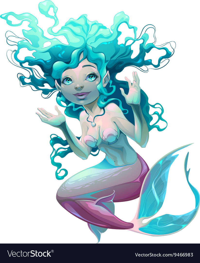 Young mermaid with white background vector image