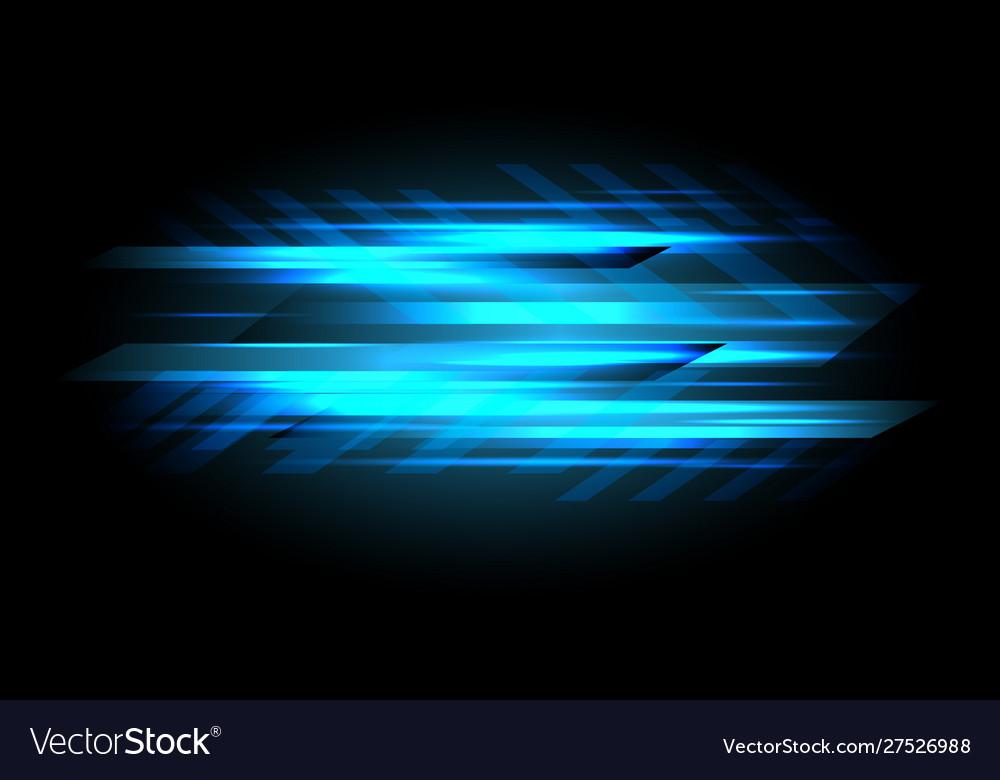 Abstract blue light data speed power on black