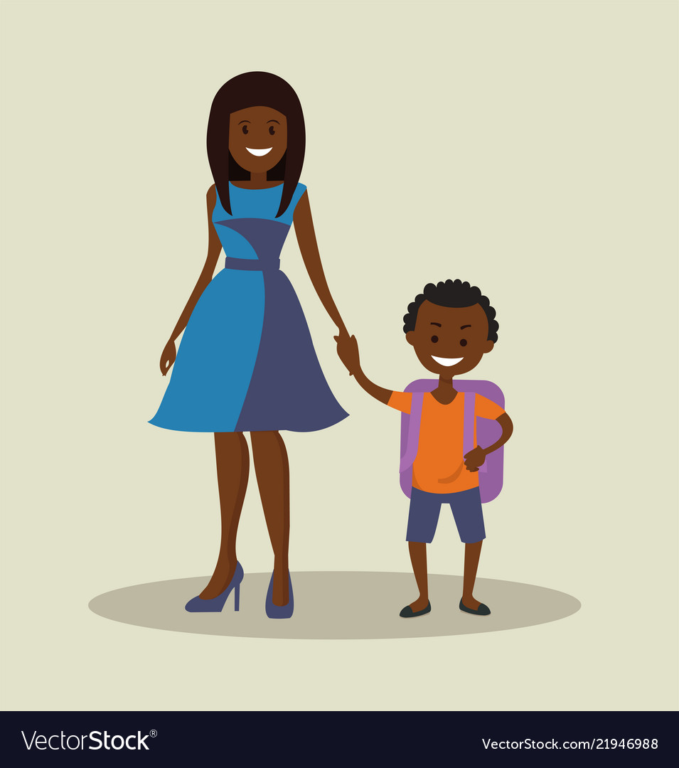 African-american mother with her child schoolboy