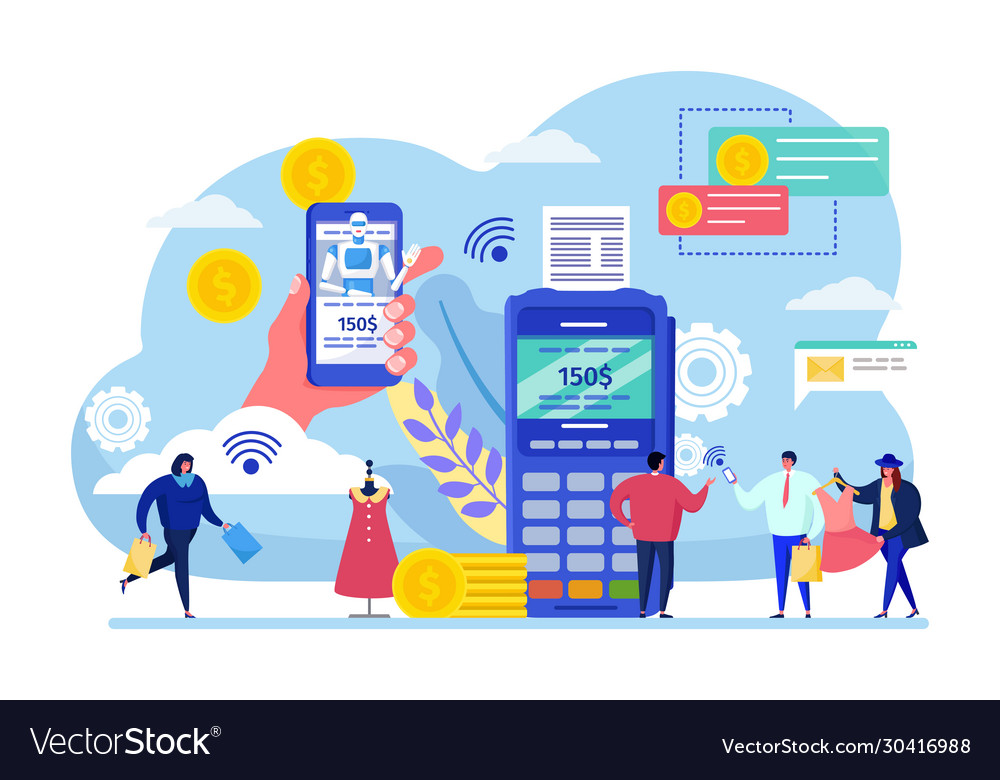 App Mobile Payment Cartoon Royalty Free Vector Image