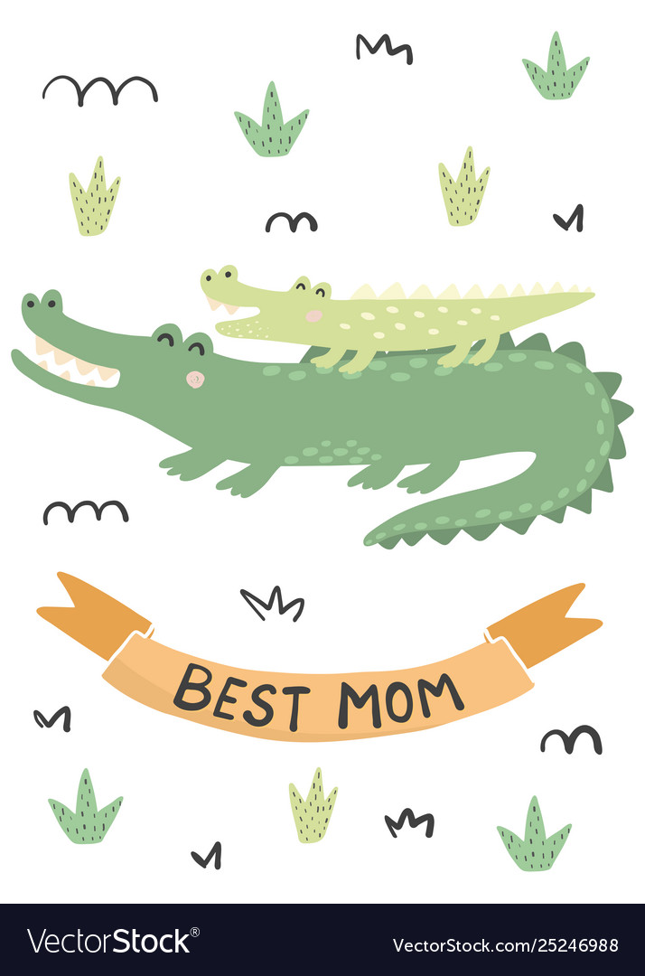 Best mom card with a cute crocodiles - mother and