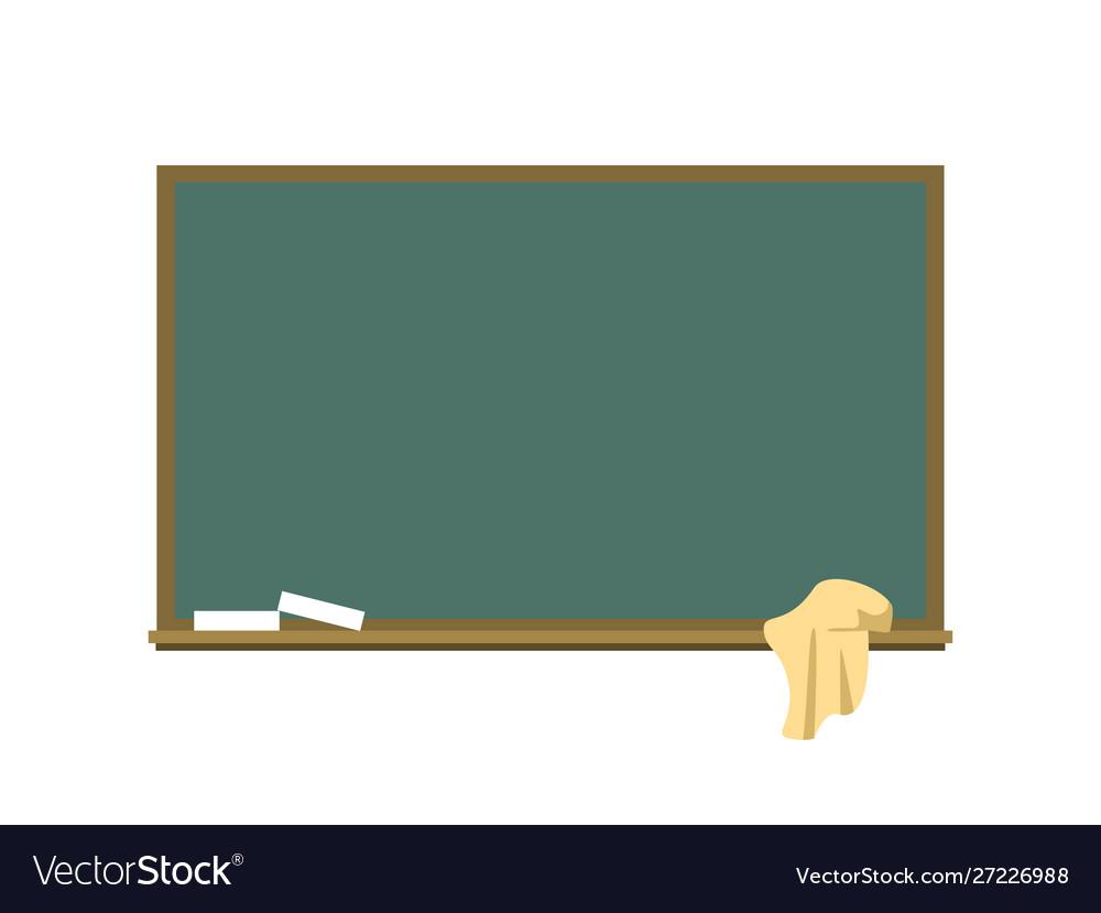 Blackboard with a chalk and a rag flat
