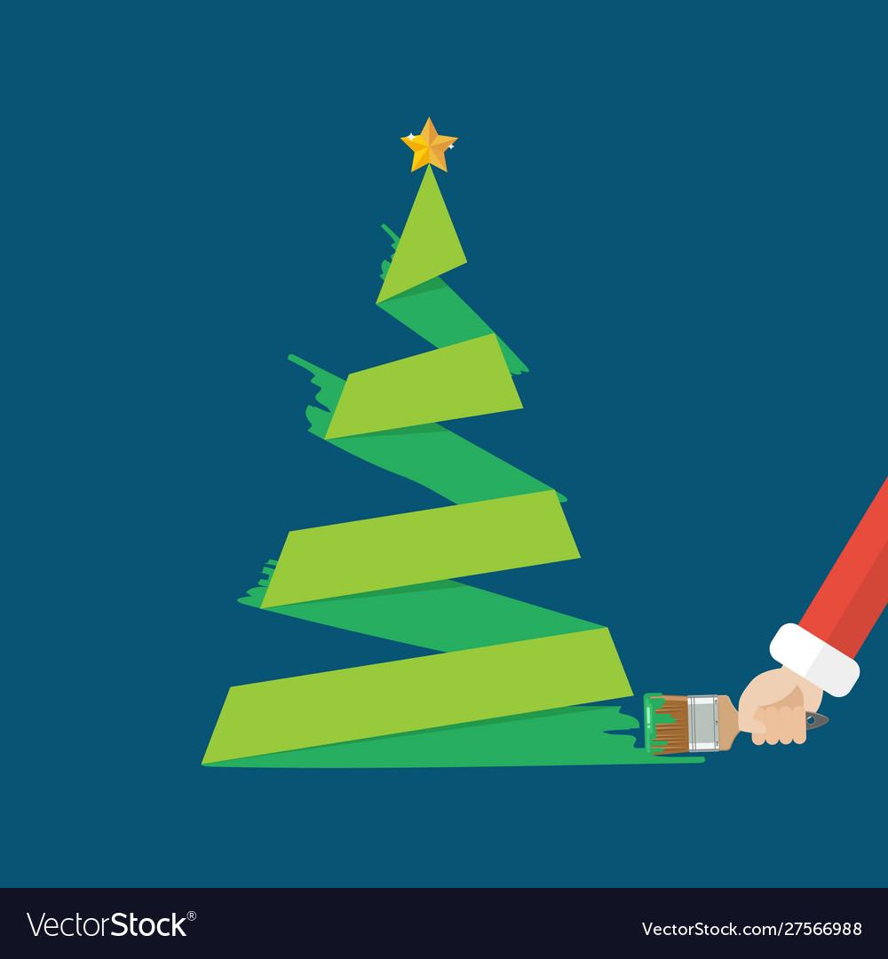 Christmas tree is painted paint brush