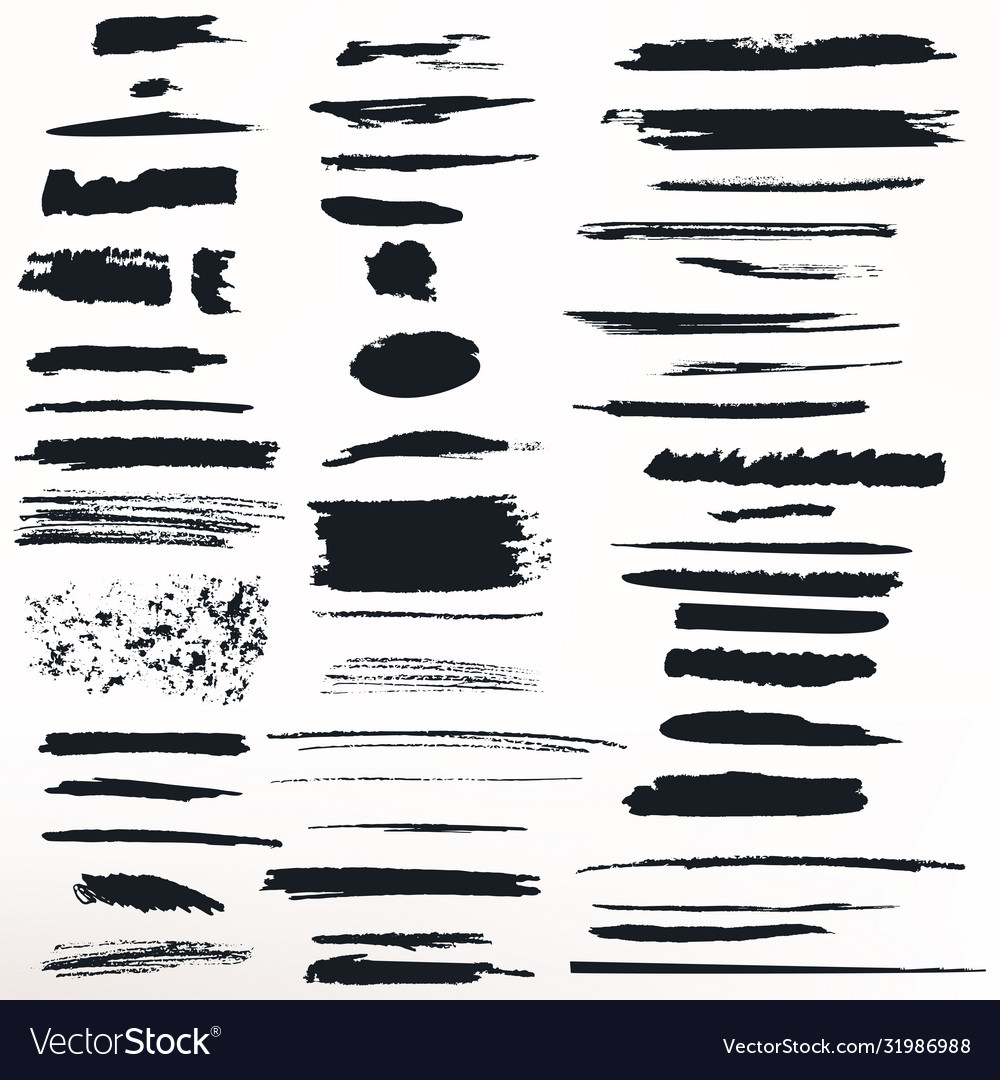 Collection painted grunge ink strokes