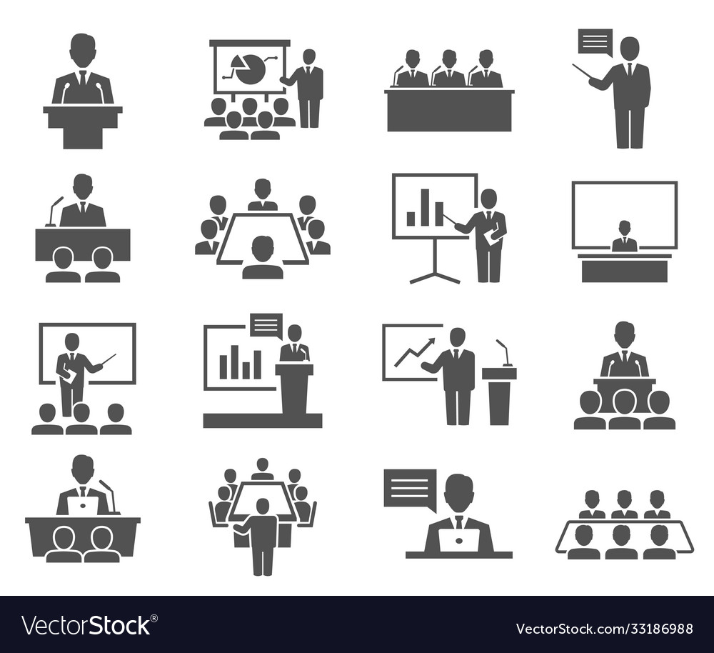 Conference meeting icons set isolated on white