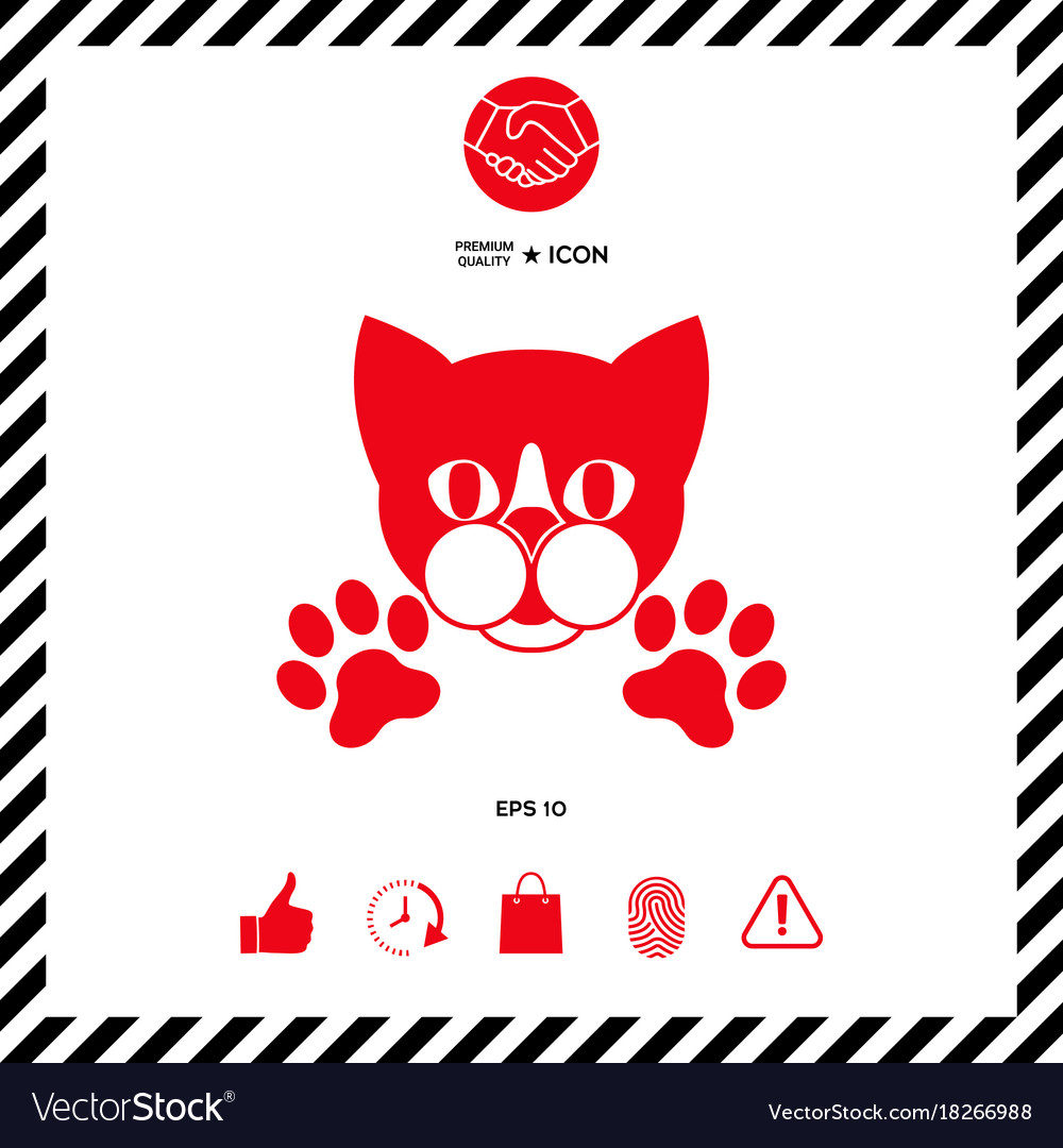 Cut Cat With Paws Logo Symbol Protect Sign Vector Image