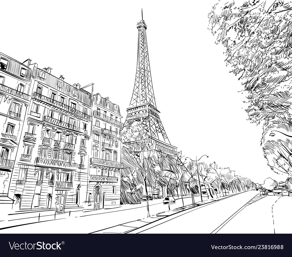 Eiffel tower sketch paris france