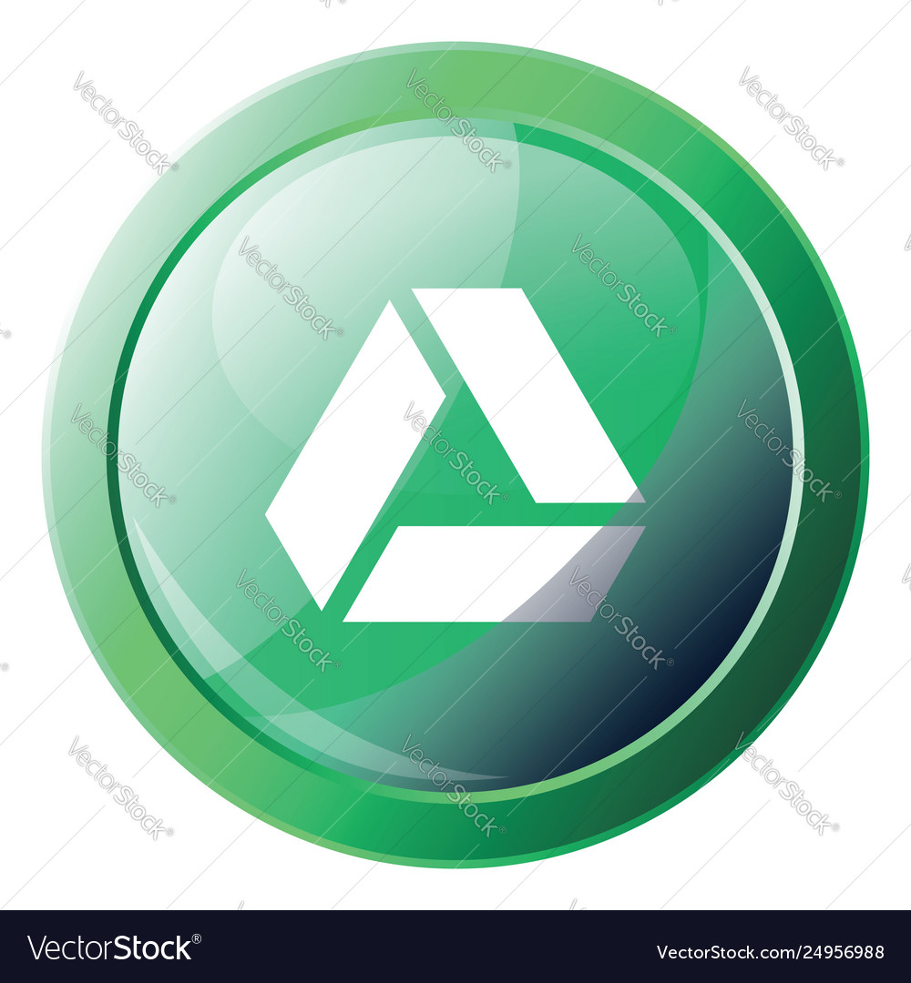 Google drive green logo button with a round frame