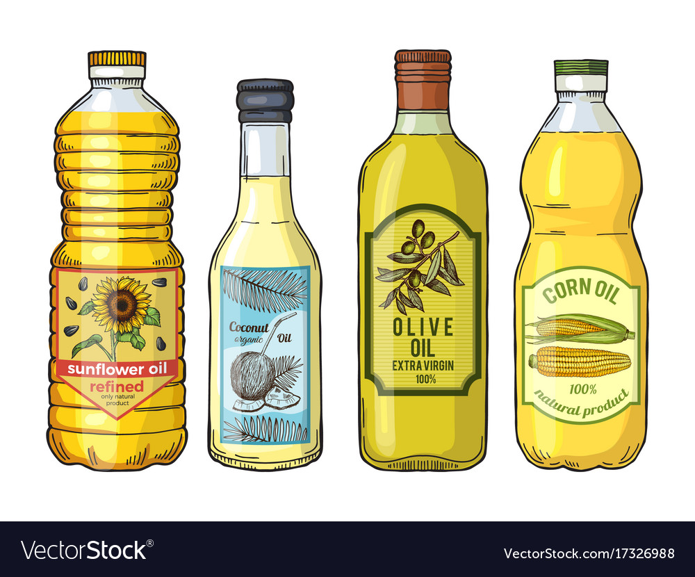 Labels for different oils sunflower olive corn