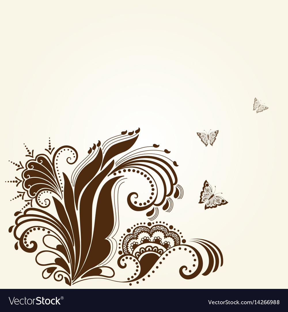 Mehndi ornament traditional indian style vector image