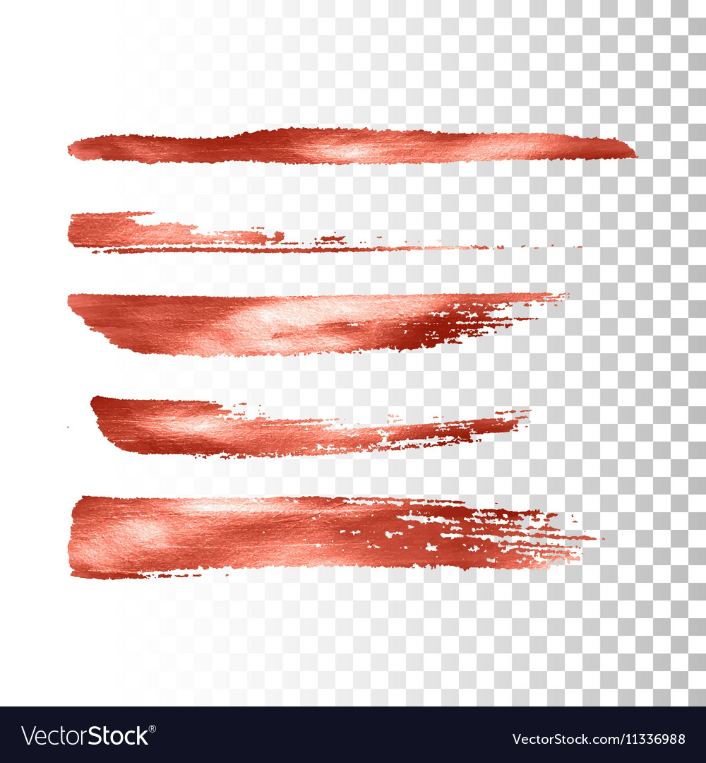 Metallic paint brush stroke set vector image