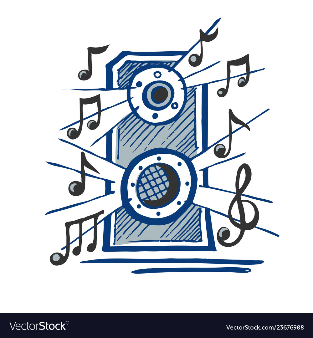 Music speaker sketch vector