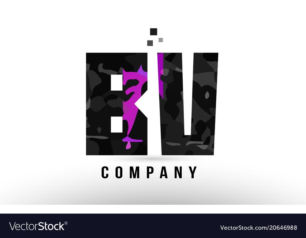 Purple black alphabet letter bv b v logo