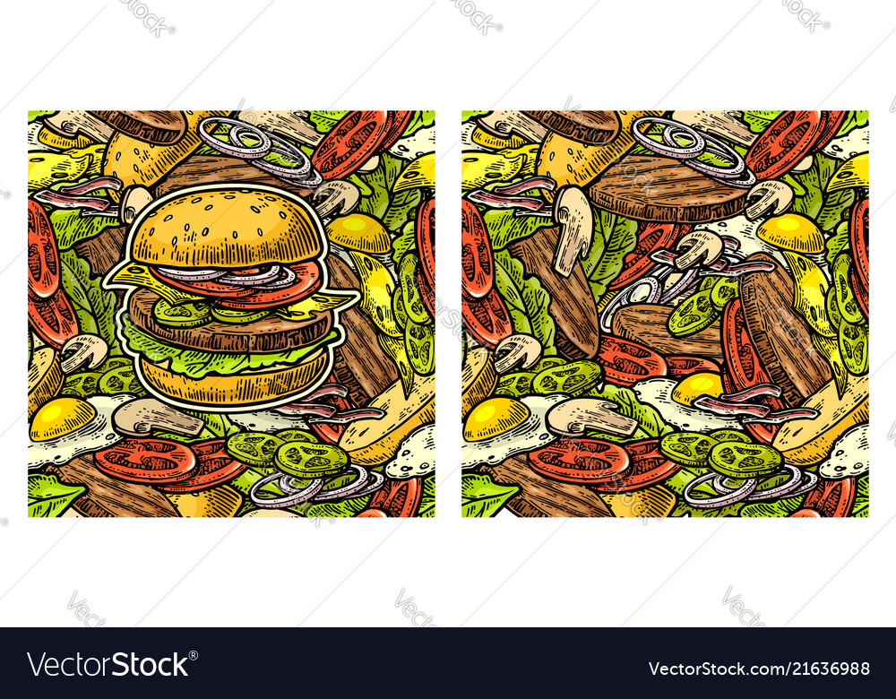 Seamless pattern burger and ingredients include