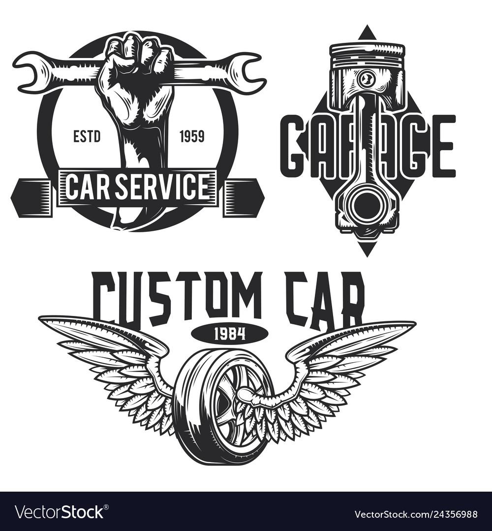 Set of car service emblems labels badges logos