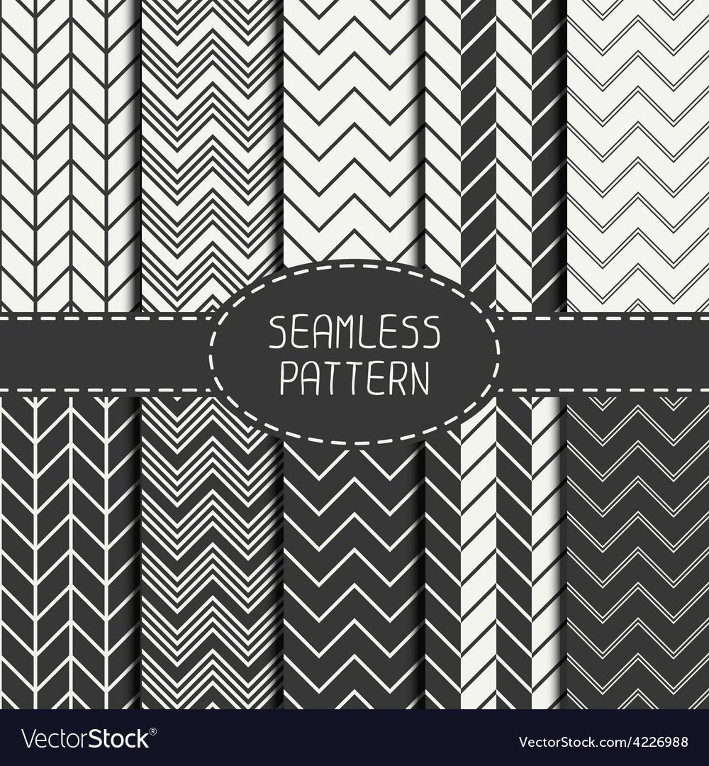 Set of monochrome fashion geometric seamless vector image