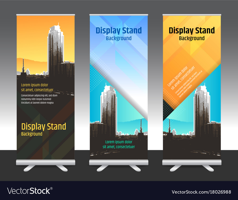 Set of vertical abstract display banner stand or