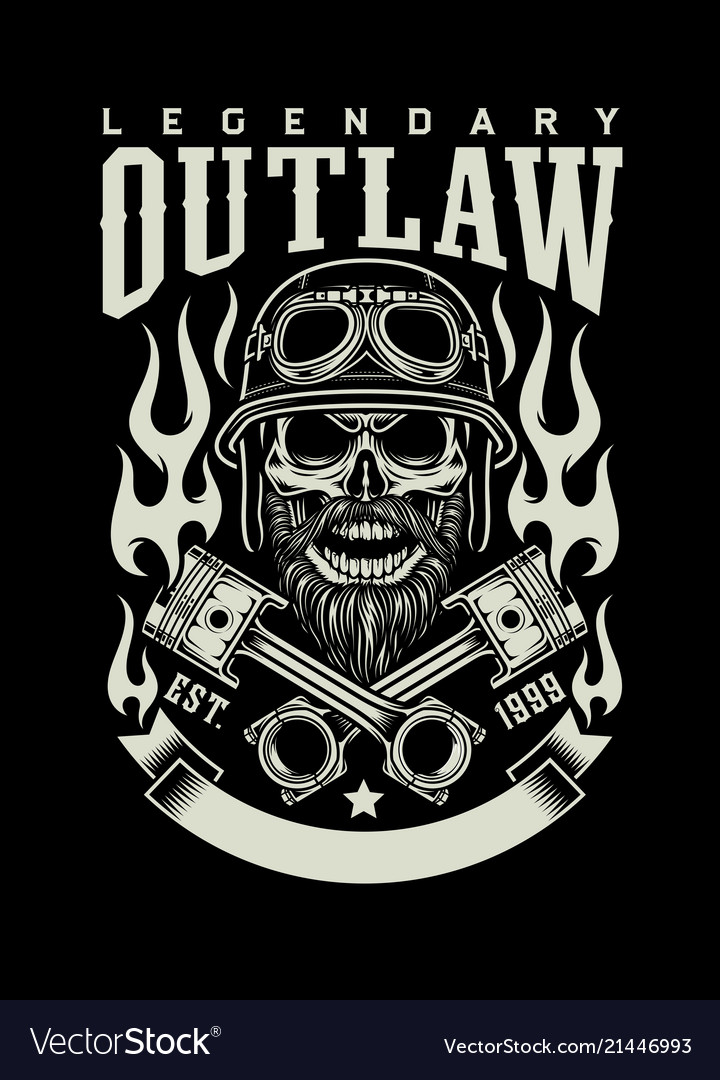 Bearded biker skull with crossed pistons emblem