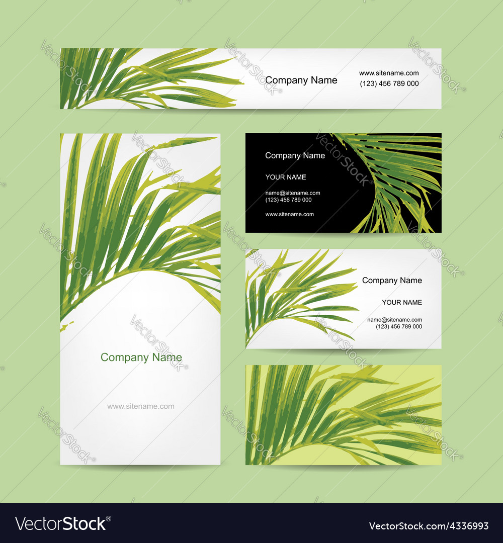 Business cards design tropical leaf Royalty Free Vector