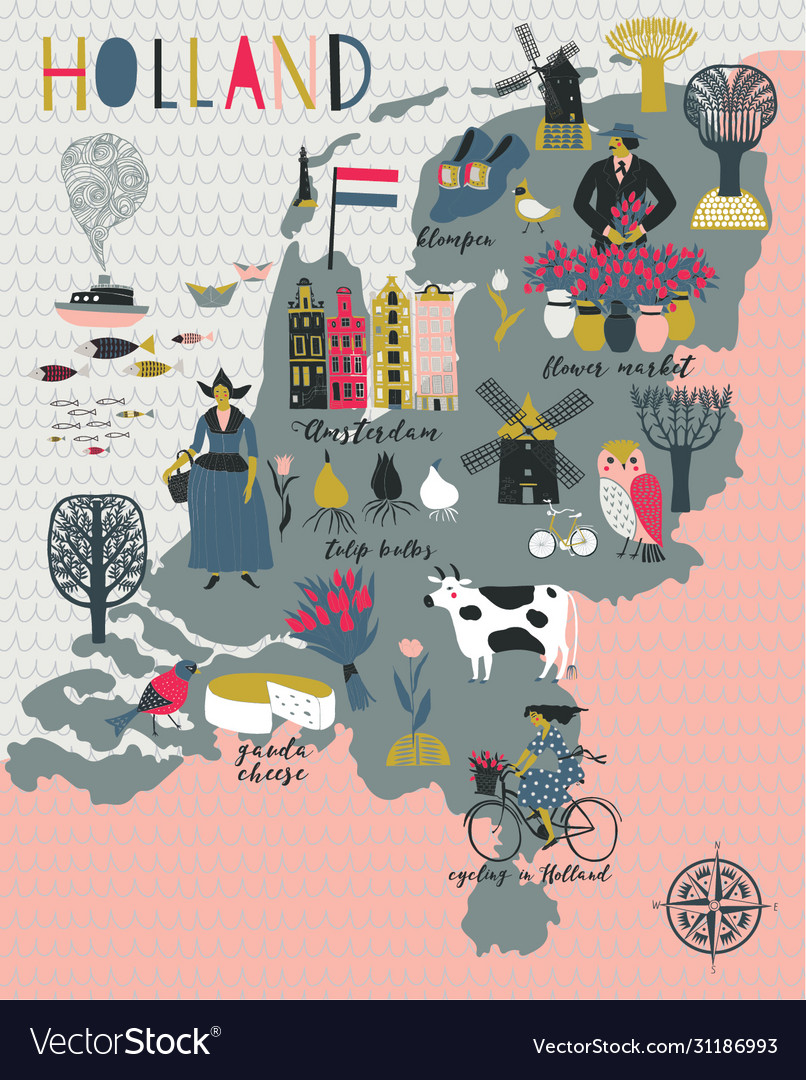 Cartoon map holland with legend icons vector
