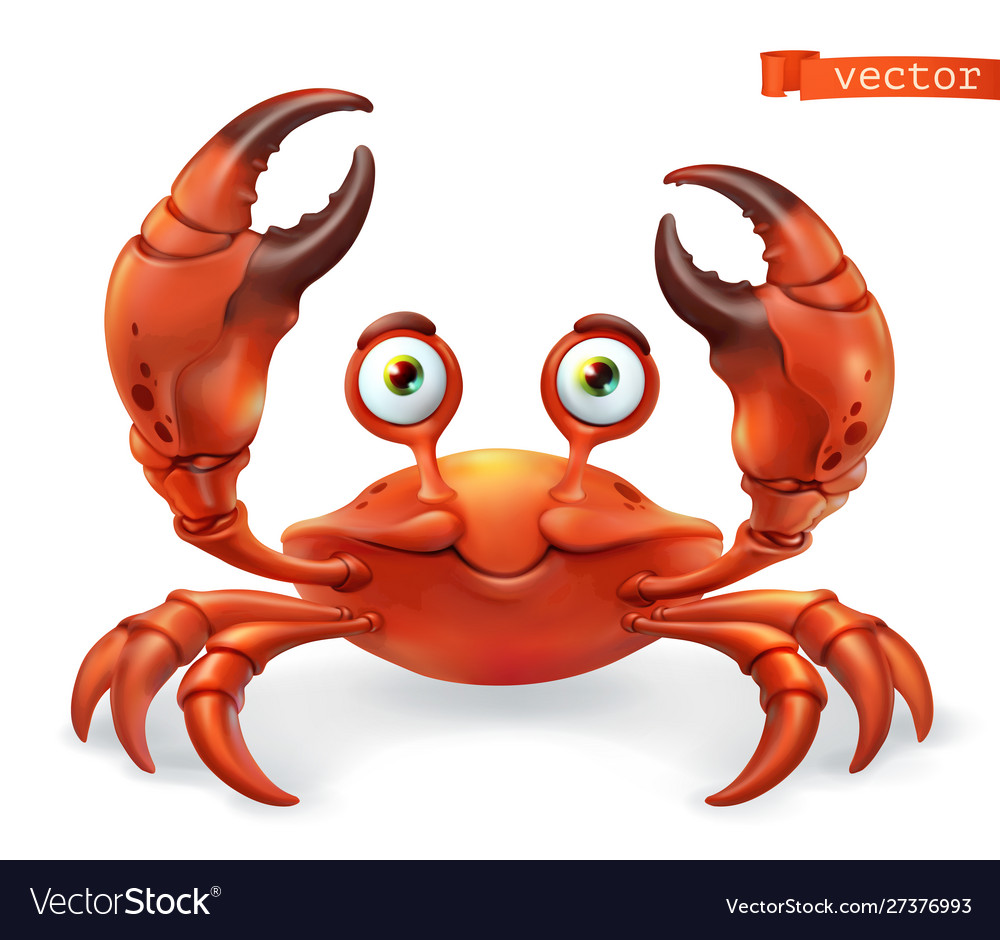 Crab cartoon character funny animal 3d icon