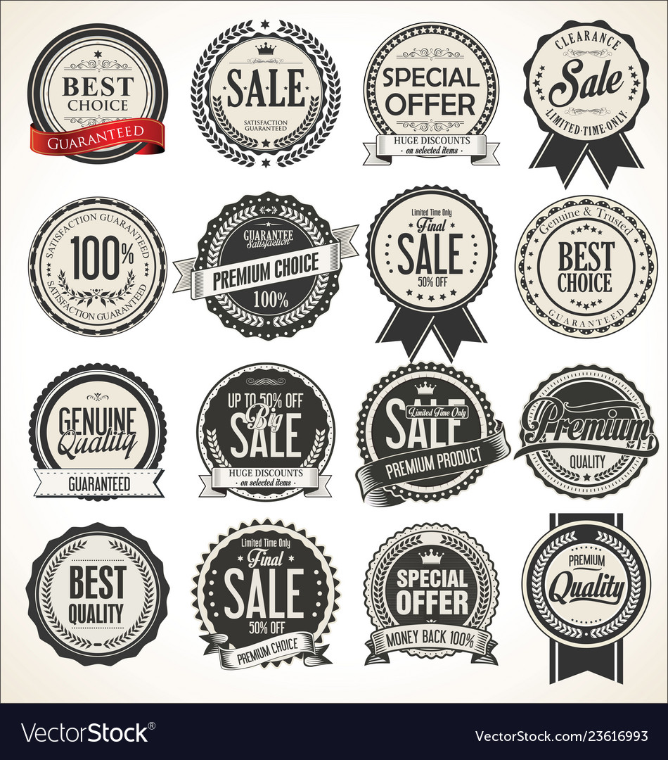 Retro vintage sale badges and labels collection