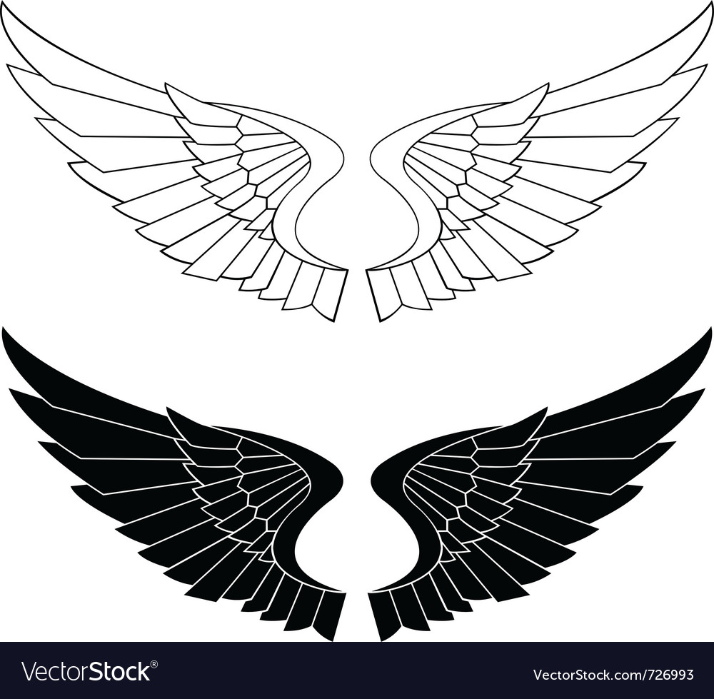 stylized wings royalty free vector image vectorstock rh vectorstock com vector wings free vector window colors