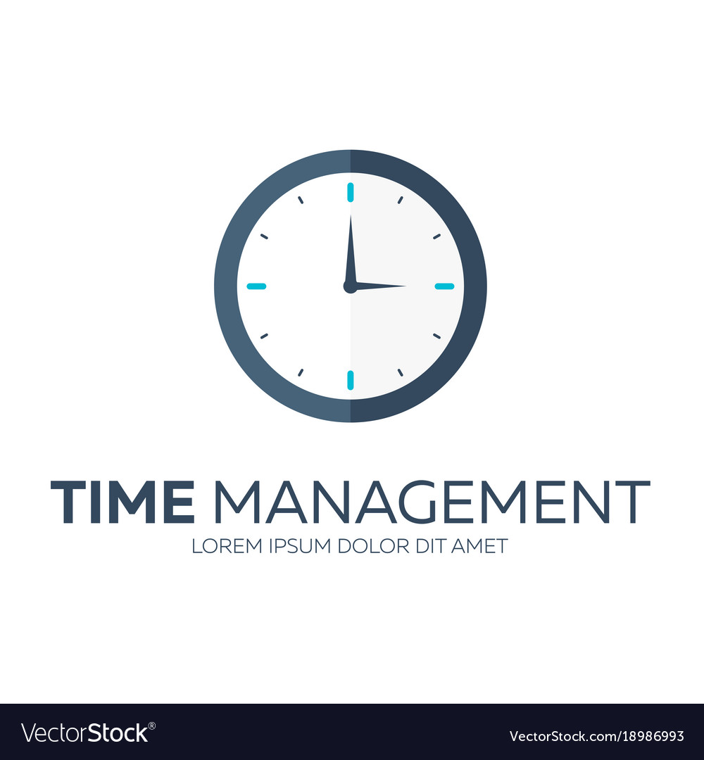 Time Management Time Logo Flat Royalty Free Vector Image