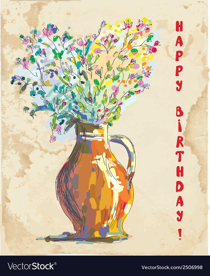Birthday card with flowers and vase retro vector image izmirmasajfo
