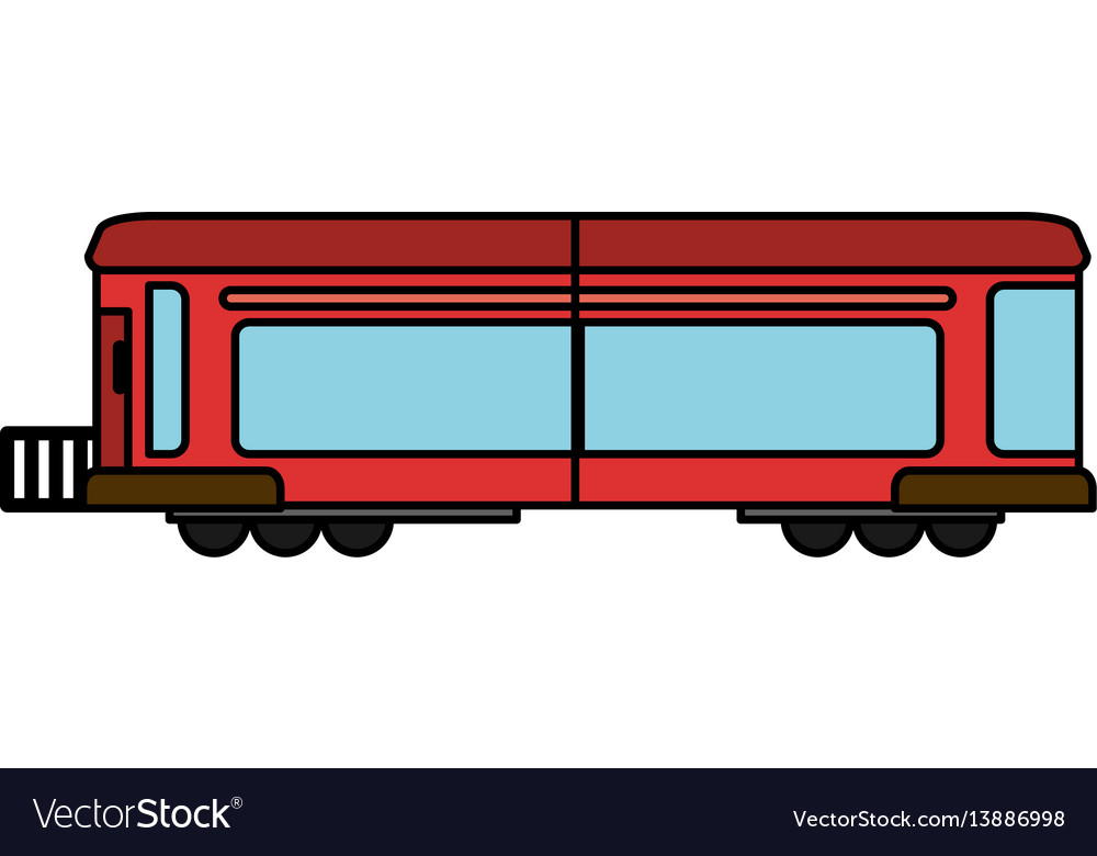 Cartoon red train wagon rail