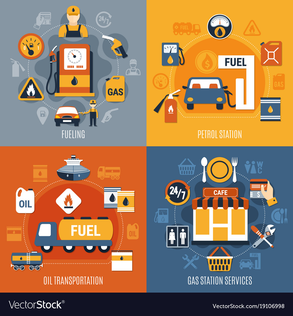 Fuel pump concept set vector image