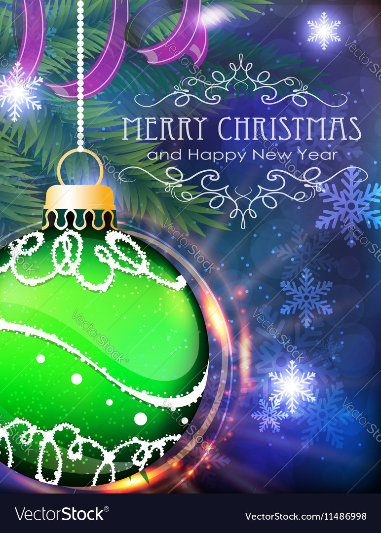 Green Christmas ball with fir branches and tinsel vector image