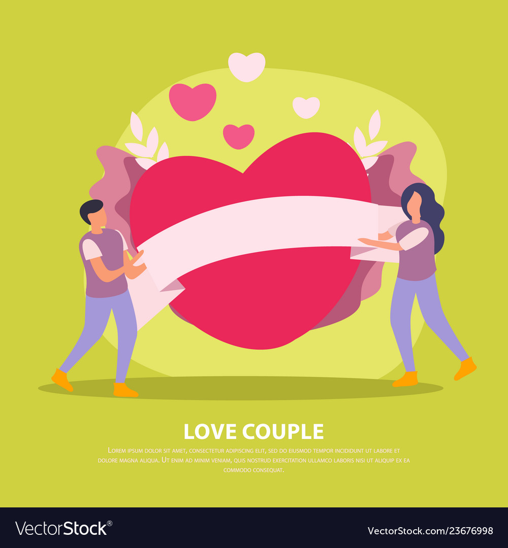 Green love couple flat background