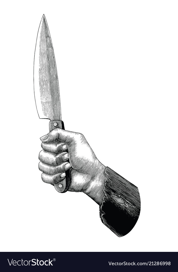 Hand holding knife vintage clip art isolated on