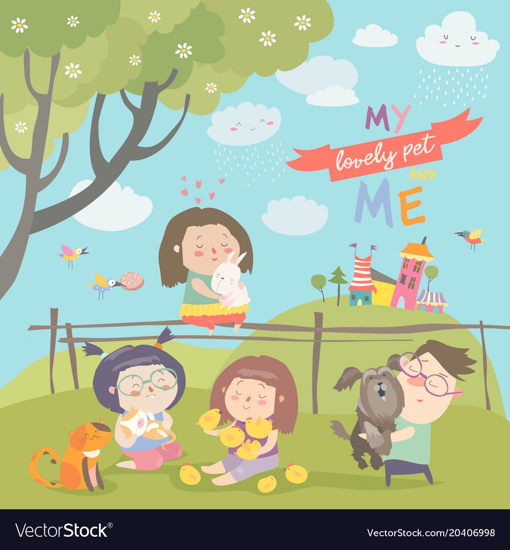 Happy children with pets vector image