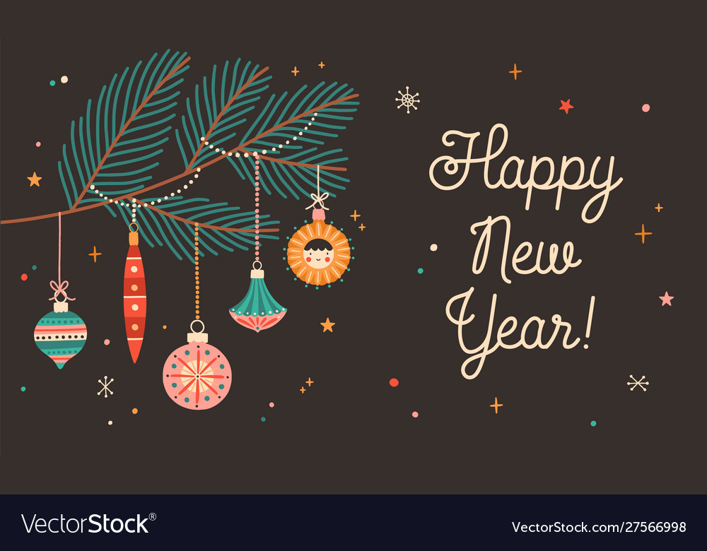 Happy new year greeting card flat template
