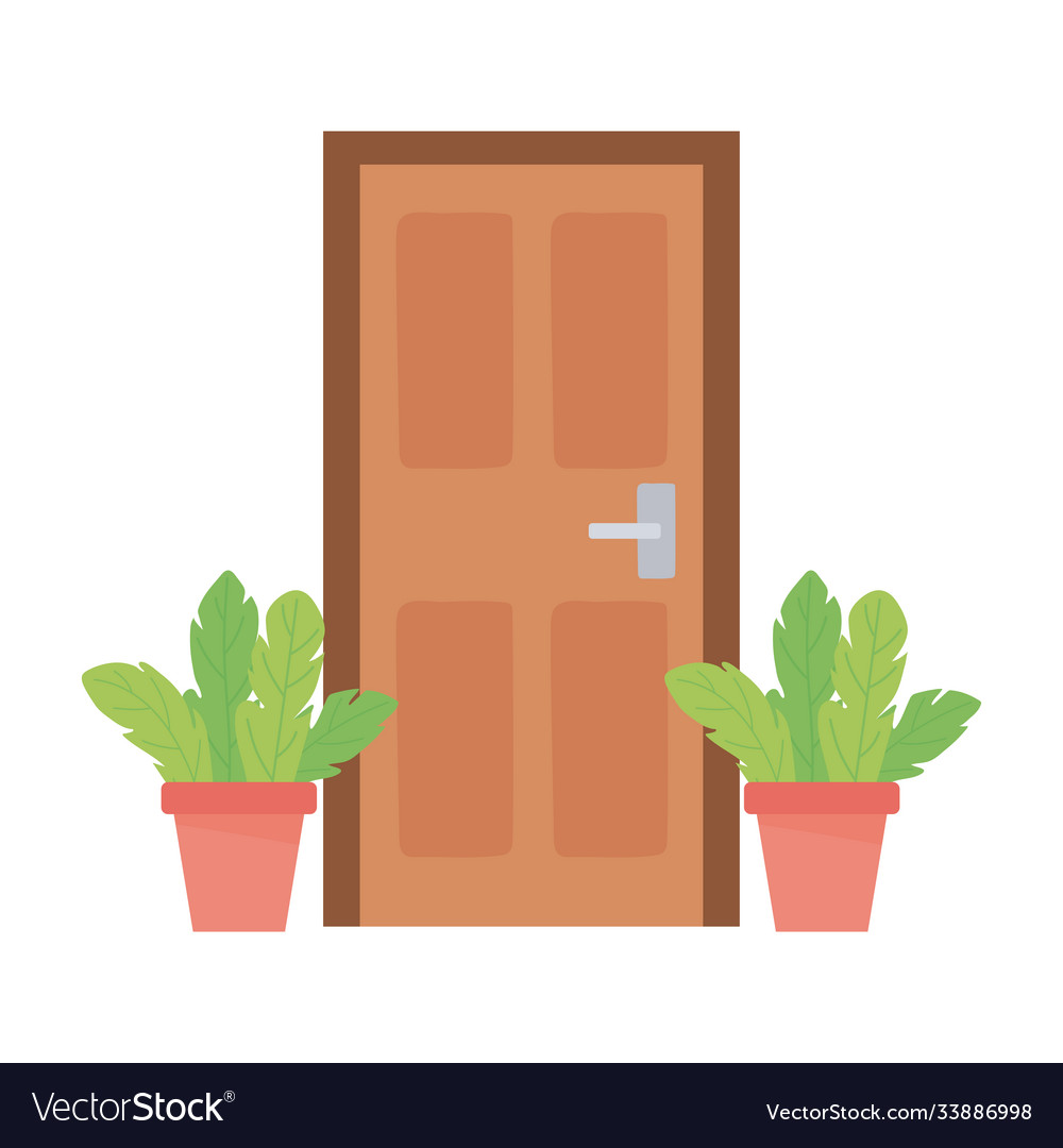 Home door and potted plants isolated design white
