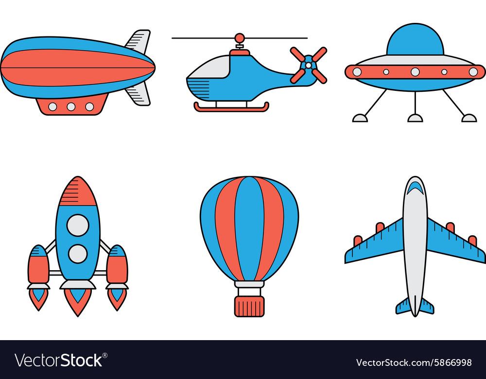 Icon set of aero vehicles Helicopter plane UFO