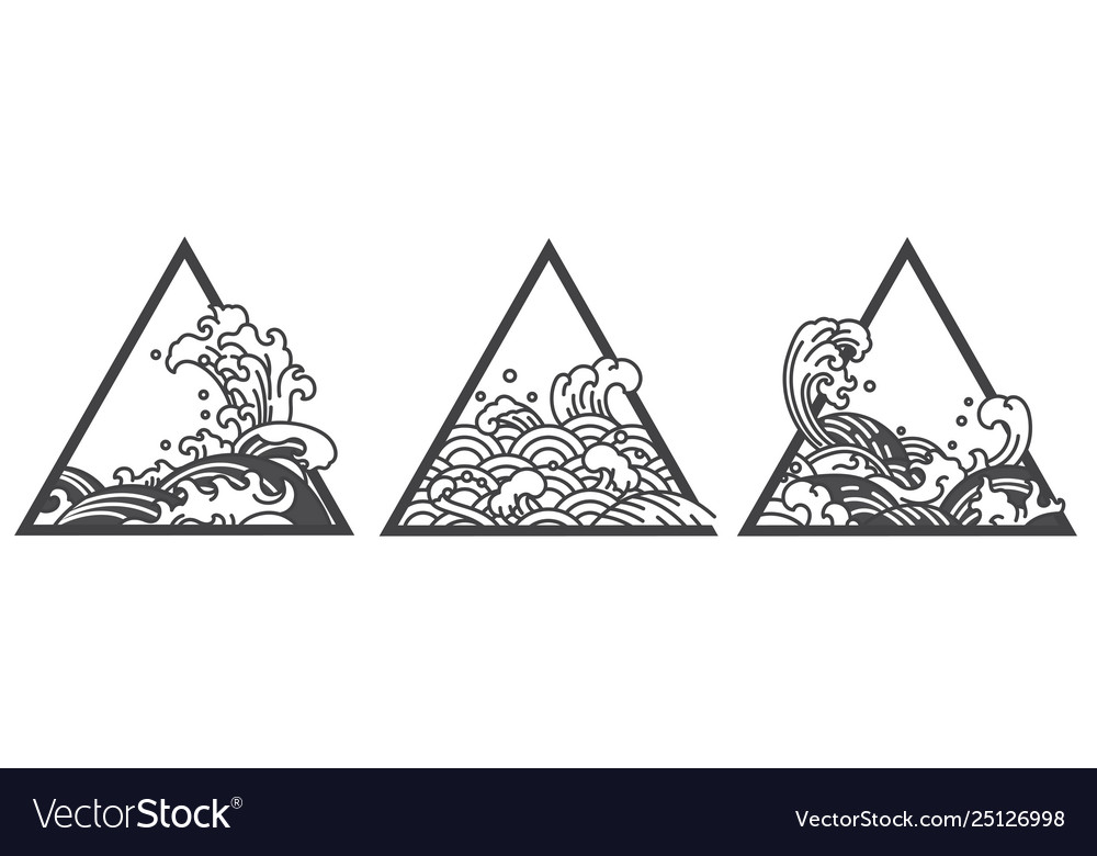 Japan Oriental Water Wave Triangle Tattoo Vector Image