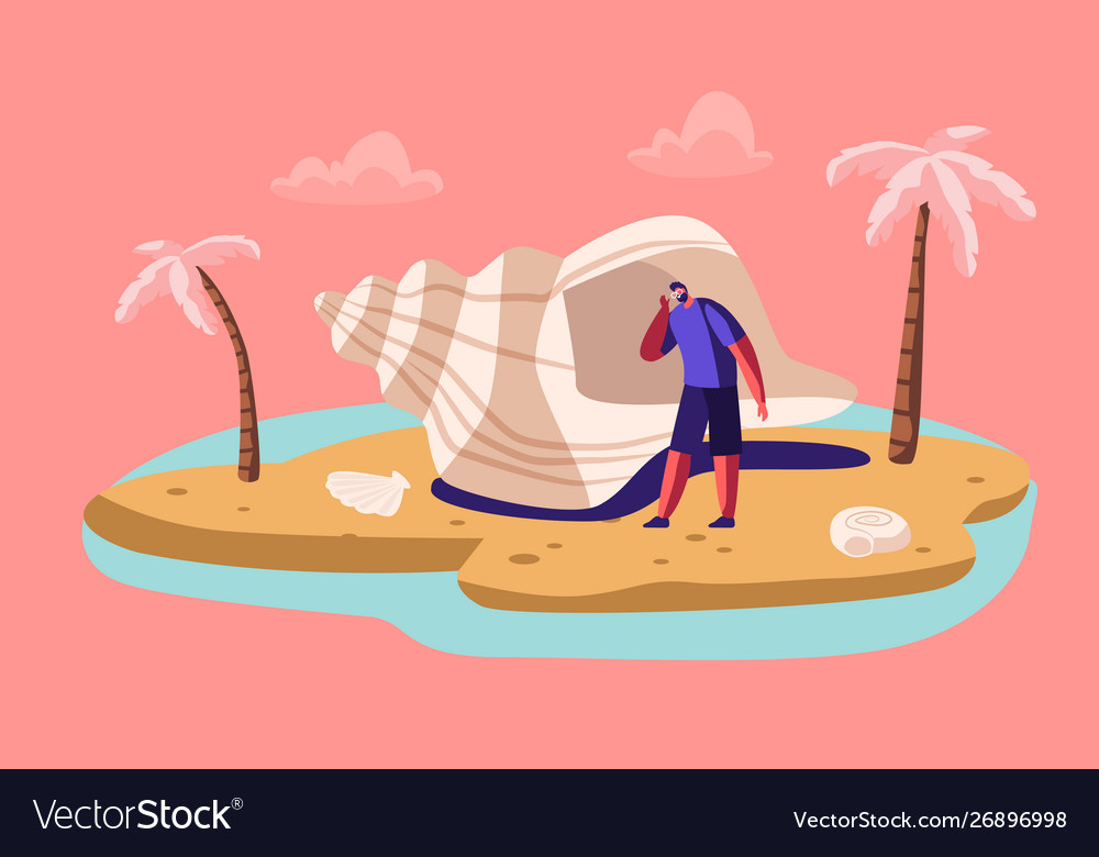 Man listening sea with huge seashell at exotic